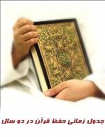 جدول زمانی حفظ قرآن در دو سال