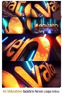 Videohive Golden Neon Logo Intro After Effects Templates