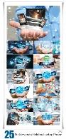مجموعه تصاویر با کیفیت تاجران با در دست داشن موبایل، لپ تاپ و تبلتBusinessman Holding Laptop Phone And Tablet