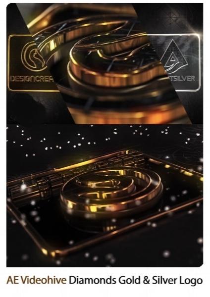 پروژه آماده افترافکت نمایش لوگو در قالب الماس طلایی و نقره ای به همراه آموزش ویدئویی از ویدئوهایو / Videohive Diamonds Gold And Silver Logo After Effects Template