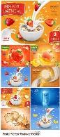 تصاویر وکتور پوستر تبلیغاتی بستنی، شیر، نوشیدنی و آبمیوهOat Grains, Flakes And Milk Splashes, Ice Cream Vintage Poster, Realistic Vector Package Design