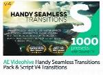 پروژه آماده افترافکت 1000 ترانزیشن Handy Seamless به همراه آموزش ویدئویی از ویدئوهایوVideohive Handy Seamless Transitions Pack And Script V4 AE Templates