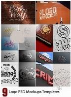 9 موکاپ لایه باز آرم و لوگوی چاپ یا هک شده9 Logo PSD Mockups Templates
