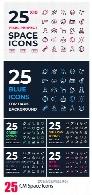 25 آیکون فضایی، موشک، فضانورد، موشک، ماهواره و ... در 10 رنگ متنوعCM Space Icons