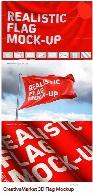 موکاپ لایه باز پرچم سه بعدی به همراه آموزش ویدئوییCreativeMarket 3D Flag Mockup