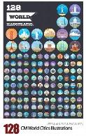 بیش از 125 آیکون دایره ای شهرهای جهان، نیویورک، پاریس، لس آنجلس، دبی و ...CM 125 World Cities Illustrations