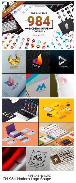 984 تصویر لایه باز و وکتور اشکال مدرن متنوع برای طراحی لوگو / CM 984 Modern Logo Shape
