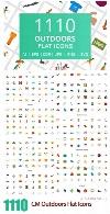 1110 آیکون فلت کشاورزی، سفر، زمستانی، بدنسازی، عروسی و ...CM 1110 Outdoors Flat Icons
