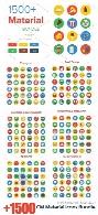 بیش از 1500 تصویر وکتور آیکون دایره ای رنگی تجاری، آموزشی، فشن، غذا، پزشکی و ...CM 1500+ Material Icons Bundle