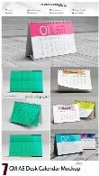 موکاپ لایه باز تقویم رومیزی با سایز A5CreativeMarket A5 Desk Calendar Mockup