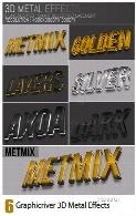 6 افکت لایه باز فلزی سه بعدی متن از گرافیک ریورGraphicriver 3D Metal Effects