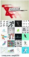 تصاویر وکتور پس زمینه و آیکون ورزشی و دوندگی از شاتراستوکShutterStock Running Vector Icons Symbols And Backgrounds