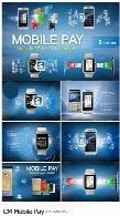 تصاویر وکتور تم الکترونیکی پرداخت با تلفن همراه به همراه آیکون های سه بعدیCM Mobile Pay