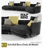 مدل آماده سه بعدی مبلمانSofa Rolf Benz Onda 3d Model