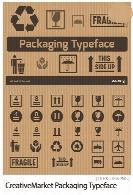 فونت المان های بسته بندی، شکستنی، بازیافت، وزن بسته و ...CreativeMarket Packaging Typeface