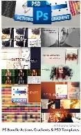 مجموعه ابزار فتوشاپ اکشن، گرادینت و قالب لایه باز افکت تصاویرAwesome Photoshop Bundle Actions Gradients And PSD Templates