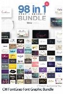 98 فونت انگلیسی متنوع به همراه تصاویر وکتور عناصر تزئینیCM FontGrap Font Graphic Bundle