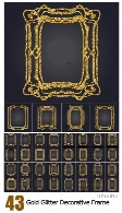 Art Nouveau Gold Glitter Decorative Rectangle Vector Frame