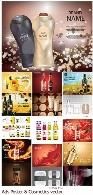 مجموعه تصاویر وکتور پوسترهای تبلیغاتی مواد غذایی و لوازم آرایشیAdvertising Poster And Ads Cosmetics vector