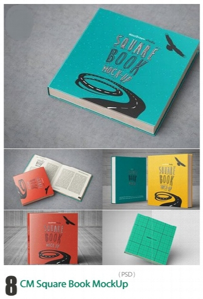 موکاپ لایه باز کتاب مربعی در زاویه های مختلف / CM Square Book MockUp