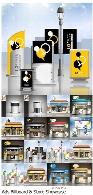 مجموعه تصاویر وکتور بیلبورد و ویترین های تبلیغاتی متنوعAdvertising Billboard Ad Store Showcase