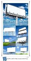 تصاویر با کیفیت بیلبوردهای تبلیغاتی محیطی با پس زمینه آسمانAdvertising Board On Background Of Sky