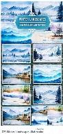 تصاویر وکتور نقاشی آبرنگی مناظر زمستانیCM Winter Landscapes set2 Watercolor