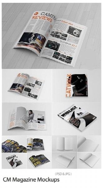 مجموعه موکاپ لایه باز مجله / CM Magazine Mockups