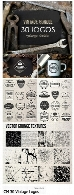 مجموعه تصاویر وکتور 30 لوگوی چاپی متنوع با تکسچر گرانجCM 30 Vintage Logos