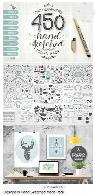 مجموعه تصاویر وکتور عناصر طراحی دستی متنوع بنر، قاب و حاشیه، تکسچر، براش و ...Designers Hand Sketched Mega Pack