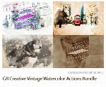 اکشن فتوشاپ ایجاد افکت آبرنگی قدیمی بر روی تصاویر از گرافیک ریورGraphicRiver Creative Vintage Watercolor Actions Bundle