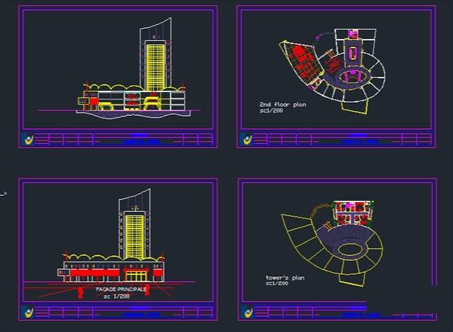 پلان ساختمان اداری تجاری برای اتوکد / Commercial Office Building Plan for AutoCAD