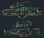 پلان بیمارستان سه طبقه به همراه نما و مقطع برای اتوکدService building plan