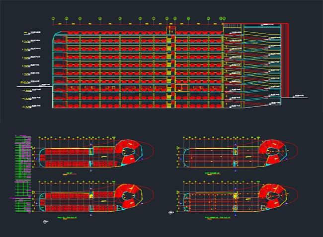 پلان پارکینگ طبقاتی برای اتوکد / Service building plan
