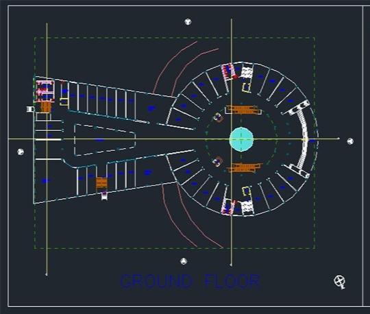 پلان مجتمع تجاری ۴ طبقه، پلان طبقات، سایت پلان برای اتوکد / Commercial Building Plan