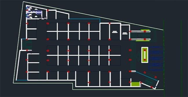 پلان مجتمع تجاری + رندر برای اتوکد / Commercial Building Plan