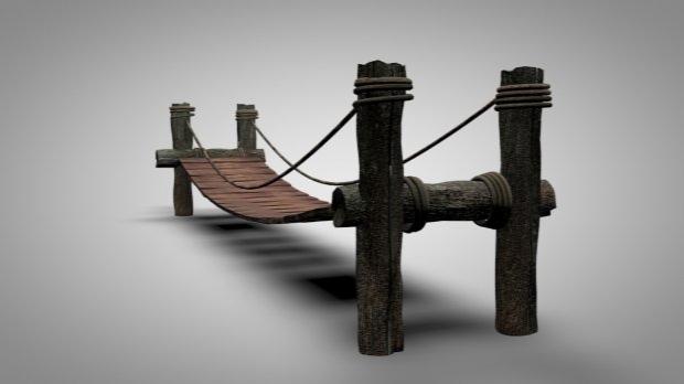 Wooden Bridge (Rigged C4D Model)
