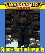 Space Marine Low Poly Ultramarine Warhammer 40k