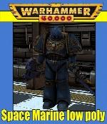 Space Marine Low Poly Ultramarine Warhammer 40k